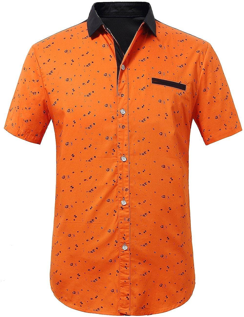 SSLR Mens Printed Button Down Casual Short Sleeve Cotton Shirts