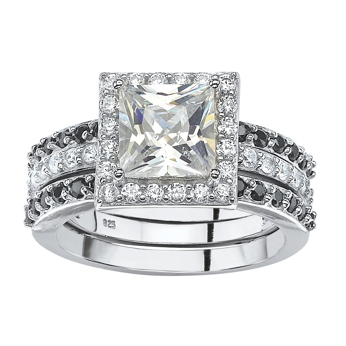 Platinum over .925 Silver Halo Jacket Wedding Ring Set Princess-Cut White and Black Cubic Zirconia Size 7
