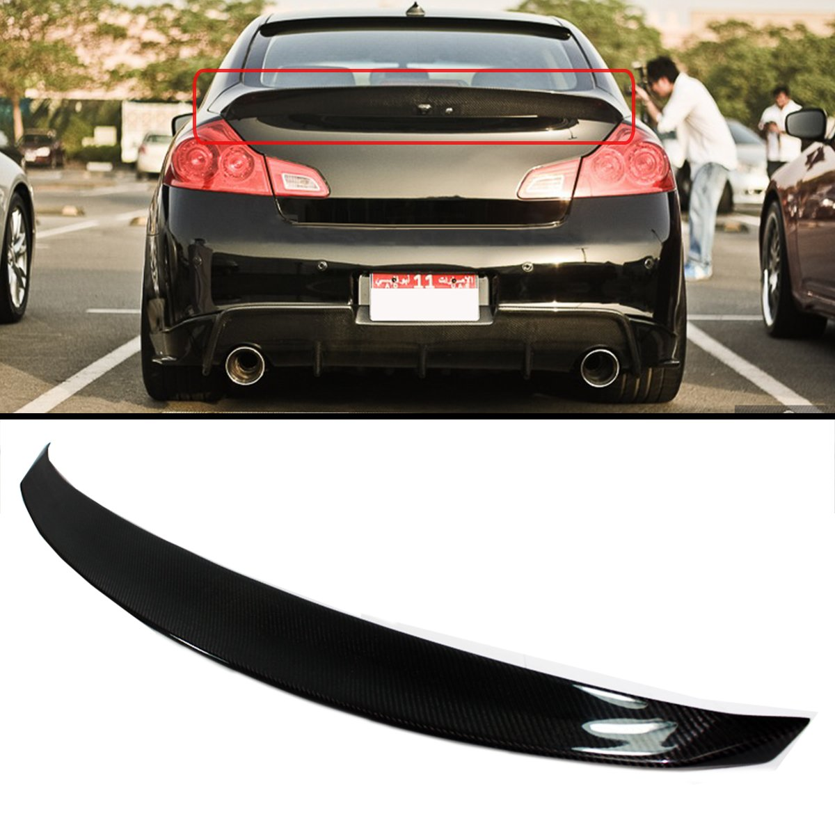Cuztom Tuning Fits for 2007-15 G35 G37 Q40 Sedan Carbon Fiber JDM Duckbill  Highkick Style Rear Trunk Spoiler