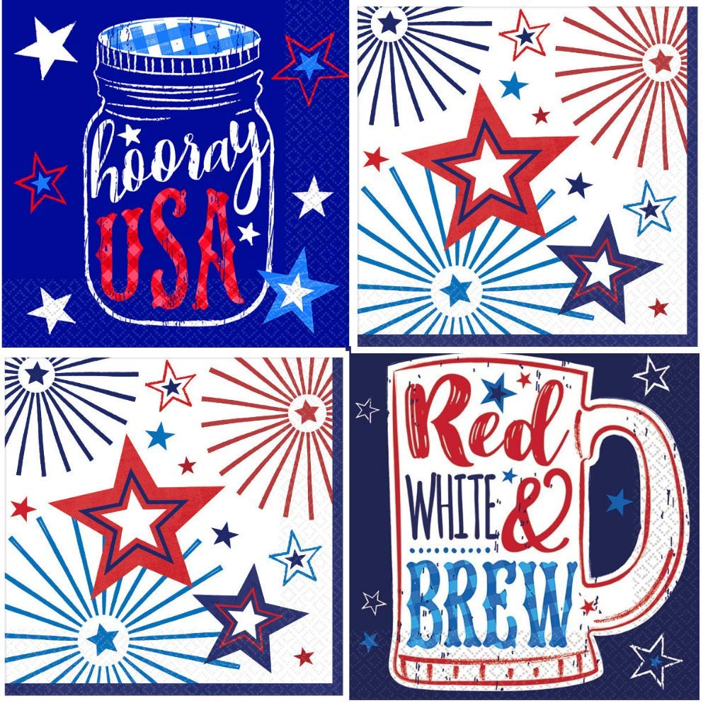 Patriotic 4th of July Cocktail Napkins Red White Blue Stars 88 Count Variety Pack BULK