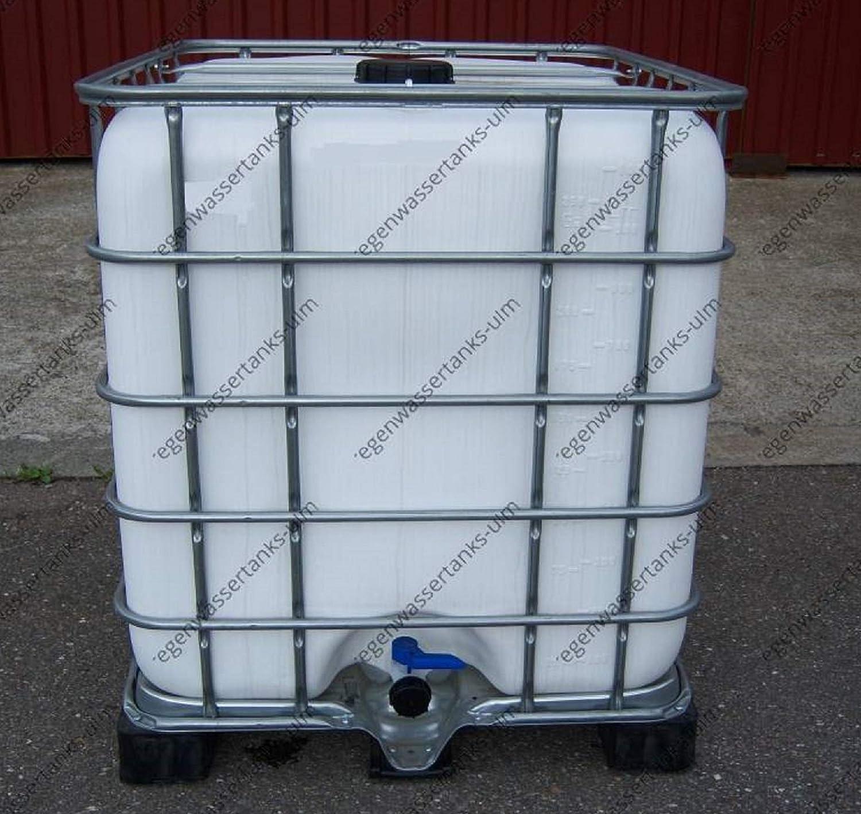 Regenwassertank Schwarz ALGENSCHUTZ 1000 L auf Stahl-// PE-Palette IBC Tank
