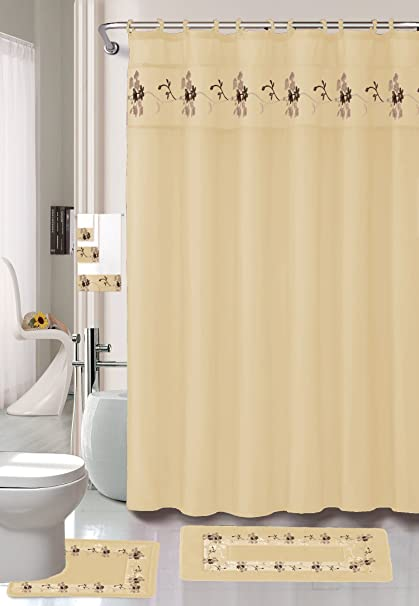 22 Piece Bath Accessory Set Beige Gold Rug Shower Curtain Accessories