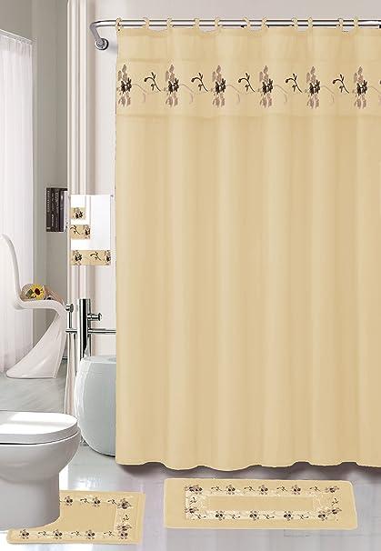 22 Piece Bath Accessory Set Beige Gold Rug Shower Curtain Accessories