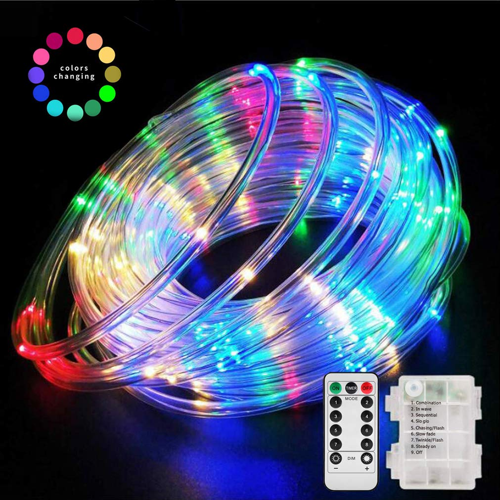 Aityvert 39ft/12M 120 LED RGB Rope Lights, Battery Operated Rope Lights 8 Modes Waterproof String Light with Remote Timer, Outdoor Decoration Lighting for Christmas Tree Patio Garden Party Wedding by Aityvert