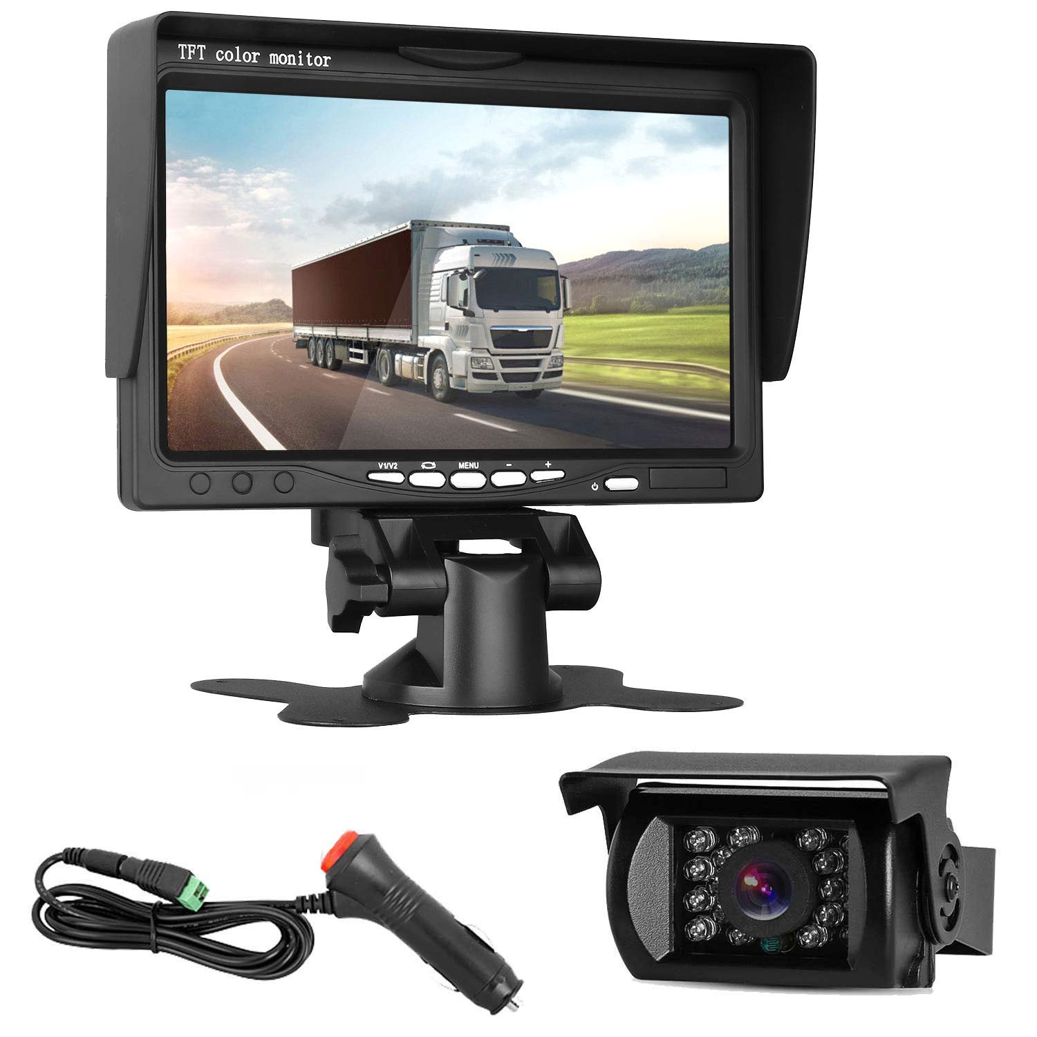 DohonesBest Backup Camera and 7''Monitor Kit for Truck/Trailer/RV/Camper Connect Single Power for Whole System Reverse/Constantly Use Optional Waterproof 50Ft RCA Cable IR Night Vision by DohonesBest