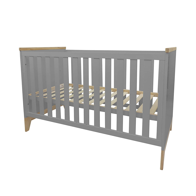 h/öhenverstellbares Gitterbett mit herausnehmbaren Spro/ßen Skandinavisches Design 140x70 cm Puckdaddy Babybett Ida Bett aus Holz in Grau