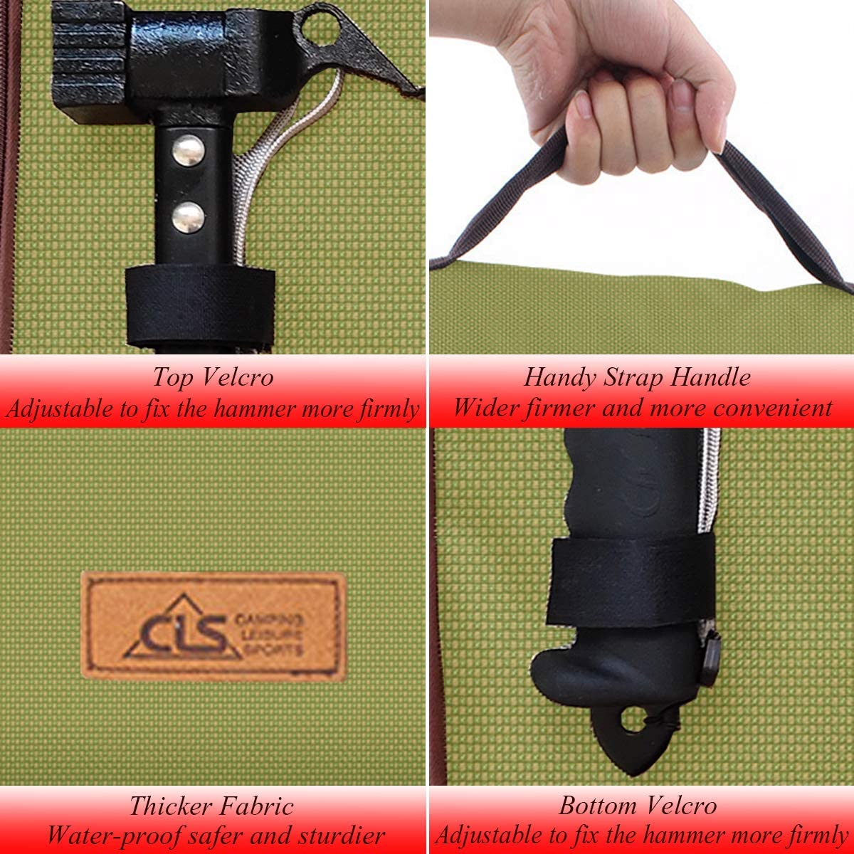 23cm tent pegs bag camping tent hammer wind rope tent nail storage pouch XDA!