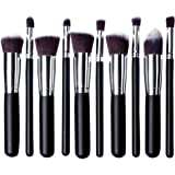 Skyblue-uk Kit De Pinceau Maquillage Professionnel 10PCS Manches en Bois Bleu Pinceau Poudre Eyebrow Shadow Blush Fond De Teint Anti-Cerne