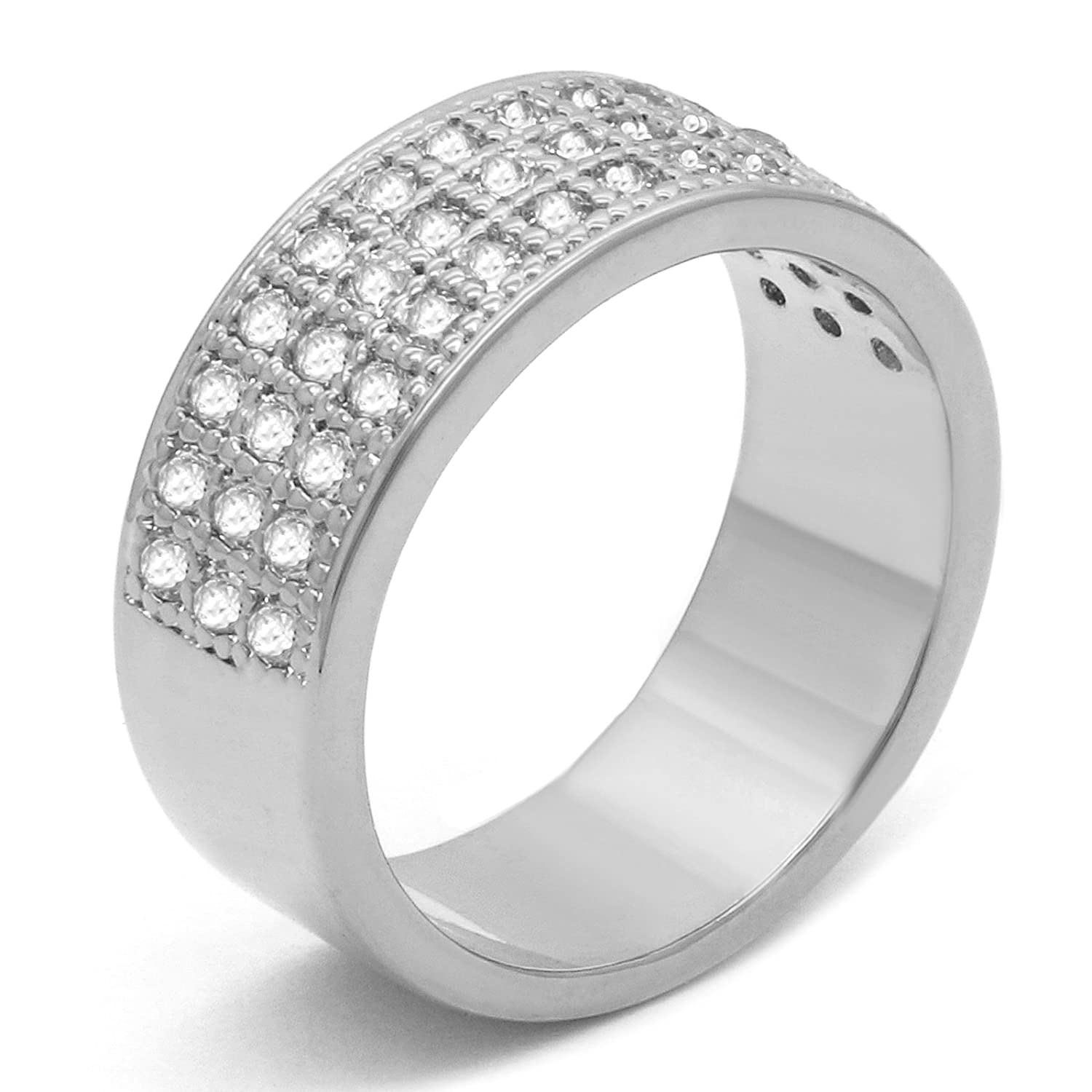 5a1645e6b0b06f Men's 14k White Gold Plated Hip Hop ICED OUT CZ Band 3 ROW Round Bling  Style Pinky Ring Size 7 8 9 10 11 12 Amazon.com