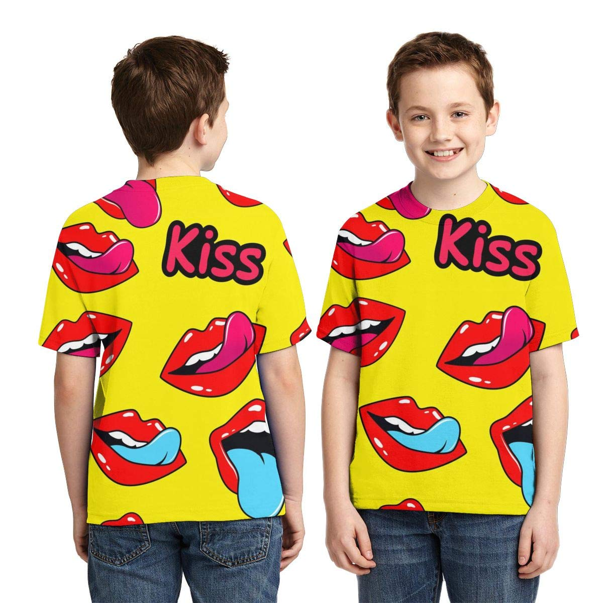 HHTZTCL Lip Drama Kids Print Graphic Tee Short Sleeve T-Shirt
