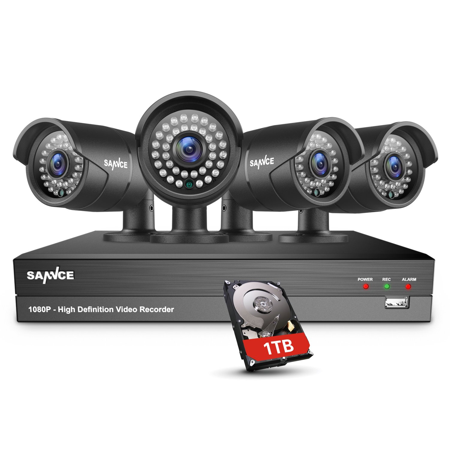 SANNCE 4CH 1080P Video DVR Recorder with 1TB Hard Drive and (4) HD 1080P Outdoor Security Cameras, with Superior Night Vision, IP66 Weatherproof Housing