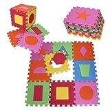 PRINZBERT Formen Puzzlematte 9 Matten 18-tlg Puzzleteppich kreativ Kinder Spielmatte Spielteppich Schaumstoffmatte rutschfest Lernteppich schadstofffrei Spielfläche Lerneffekt ABC Puzzle Moosgummi Eva