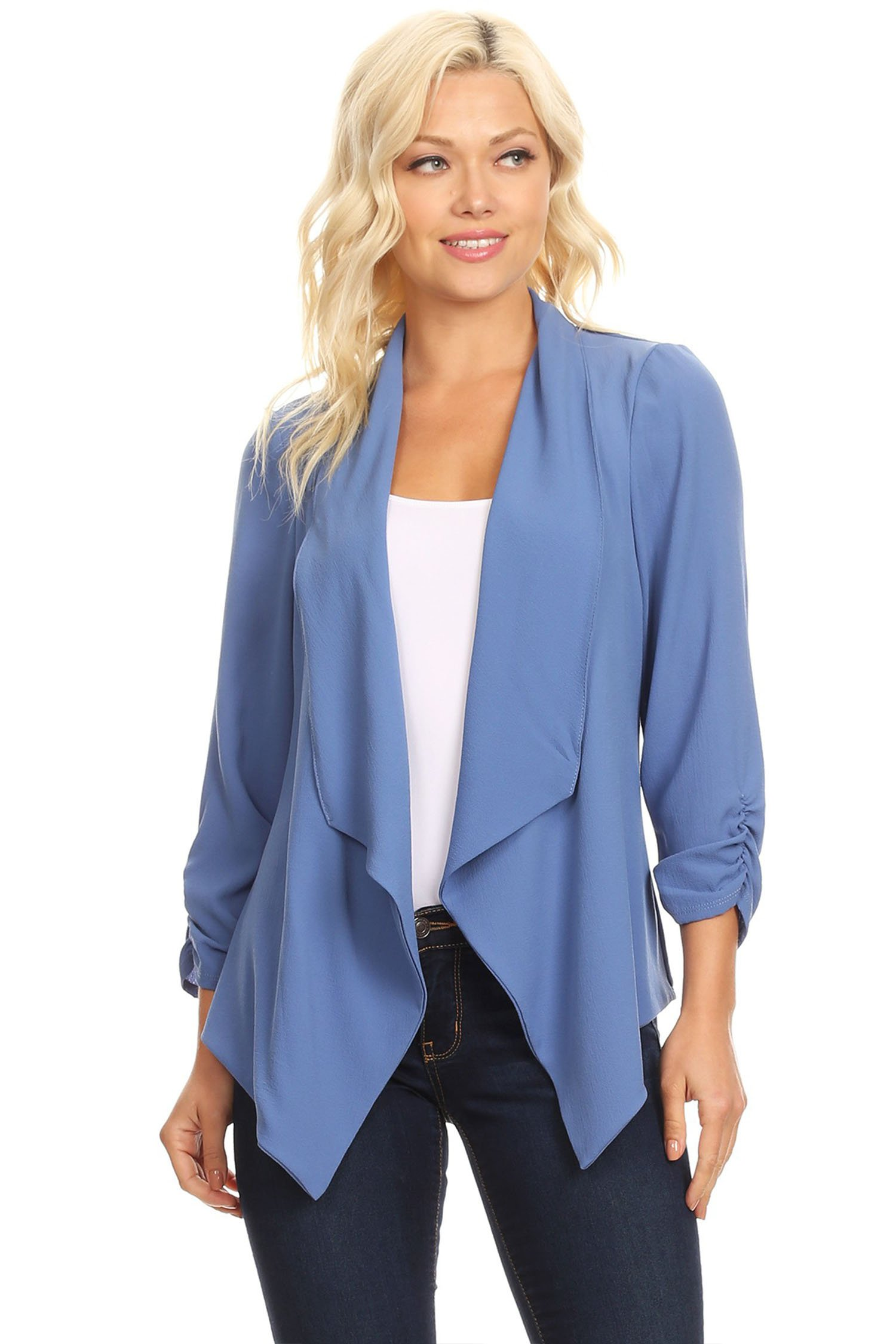 Casual Style Open Draped Ruched Sleeve Loose Cardigan/Made in USA Periwinkle M