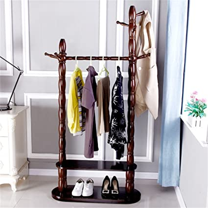 Amazon.com: Jia Jia- Coat Rack-Floor European Solid Wood ...