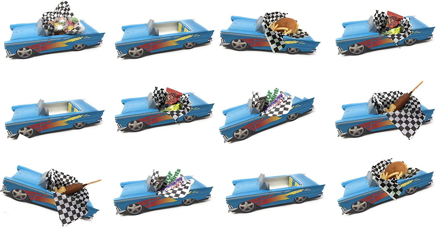 12 Classic Car Party Food Boxes - Indigo Blue Birthday Set