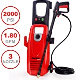 PowRyte 2000PSI 1.8GPM Electric Pressure Washer with 3 Quick-Connect Spray Tips, Onboard Detergent Tank