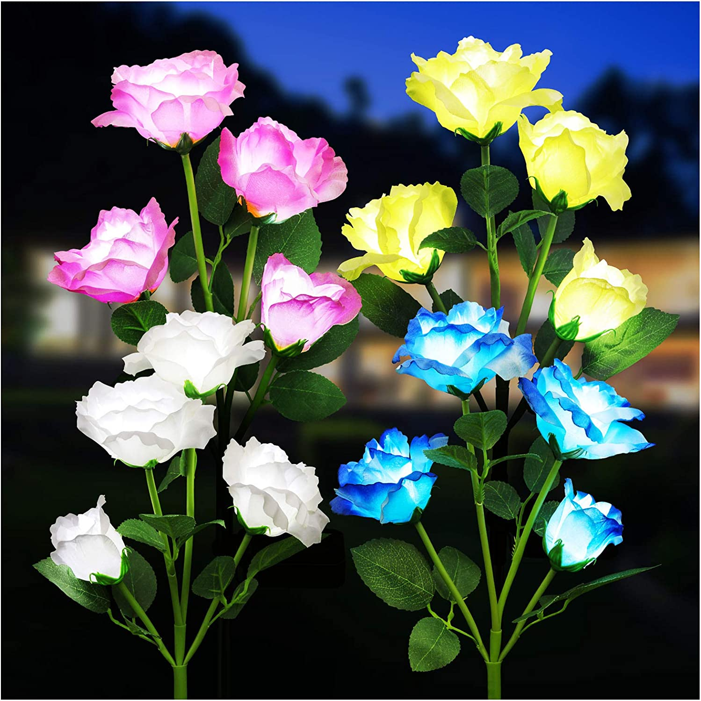 KOOPER Solar Lights Outdoor Decorative, 4PACK Solar Lights with 16 Rose Flowers Lights, Waterproof Solar Powered Outdoor Garden Lights Landscape Decor for Garden Yard Patio (White,Yellow,Pink,Blue)