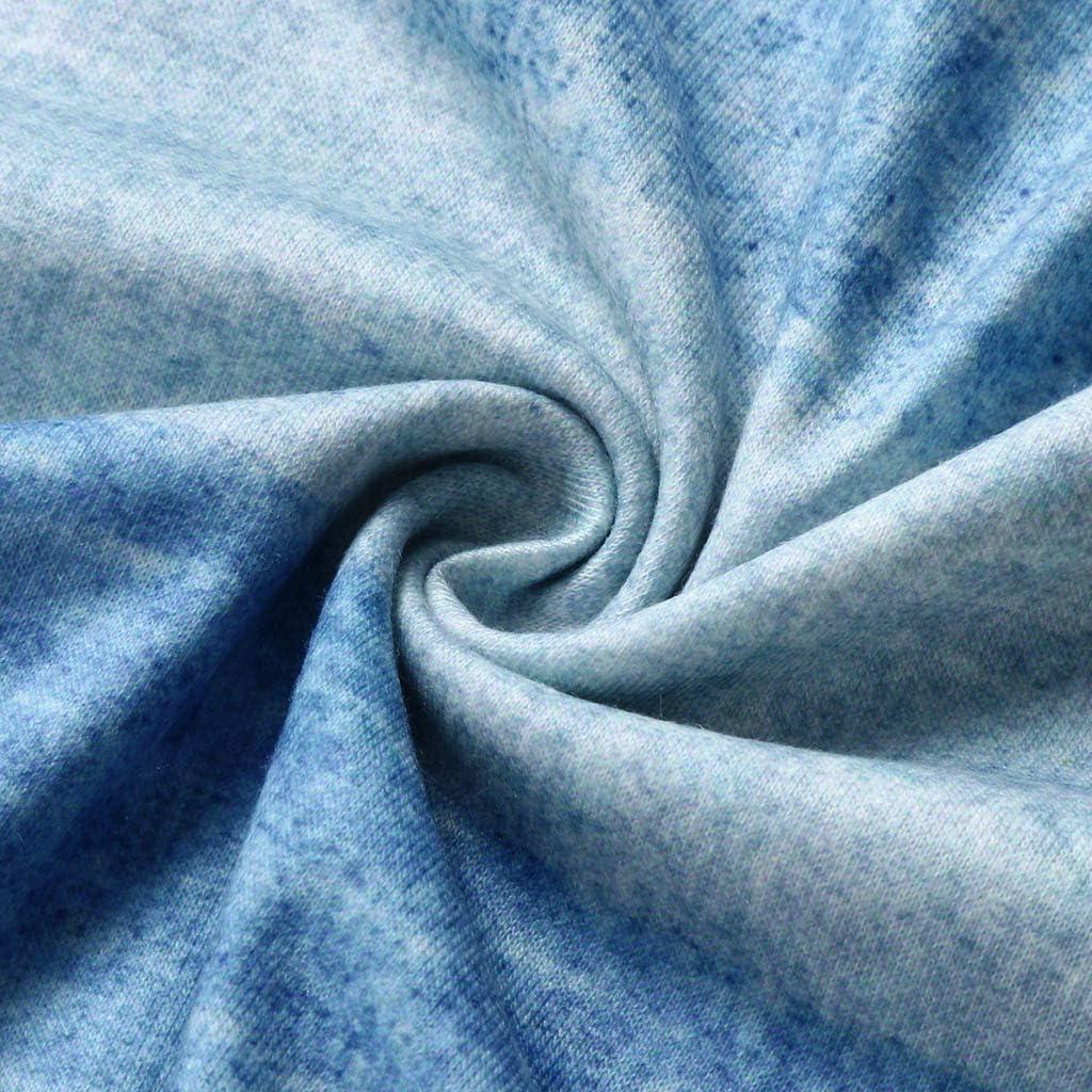 Wokasun.☂☂ Plaid Shirt,Women O-Neck Three Quarter Pullover Tops Loose Patchwork Blouse