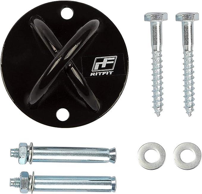 RitFit pared correas de suspensión/Soporte de techo para Crossfit de peso corporal Entrenamiento de Fuerza (2 conjuntos diferentes de tornillos a ...