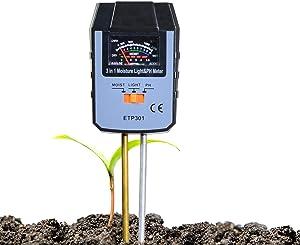 ALLOSUN Soil pH Meter 3-in-1 Soil Test Kit with Moisture/Light/pH Tester for Plants Indoor & Outdoor