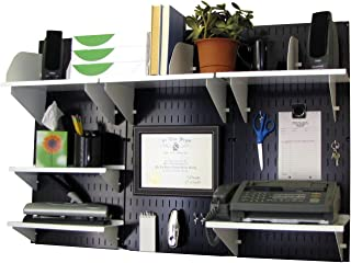 product image for Wall Control Office Organizer Unit Wall Mounted Office Desk Storage and Organization Kit Black Wall Panels and White Accessories