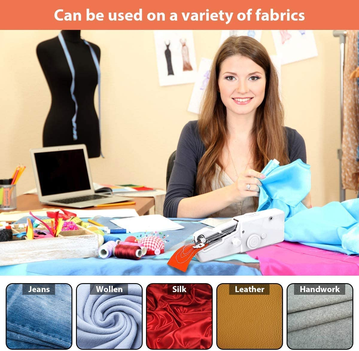 futureyun Mini Handheld Sewing Machine Machine Electric Stitch Tool for Fabric Quick Repairing Suitable for Clothing