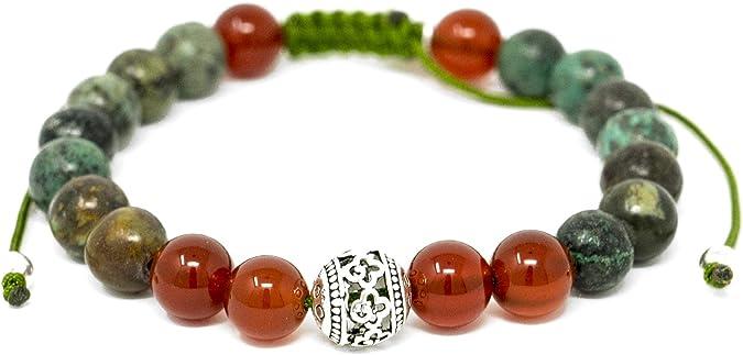 Moss Agate And Riverstone Larimar Accessories Premium 8mm Natural Gemstone Mala Beads Adjustable Bracelet