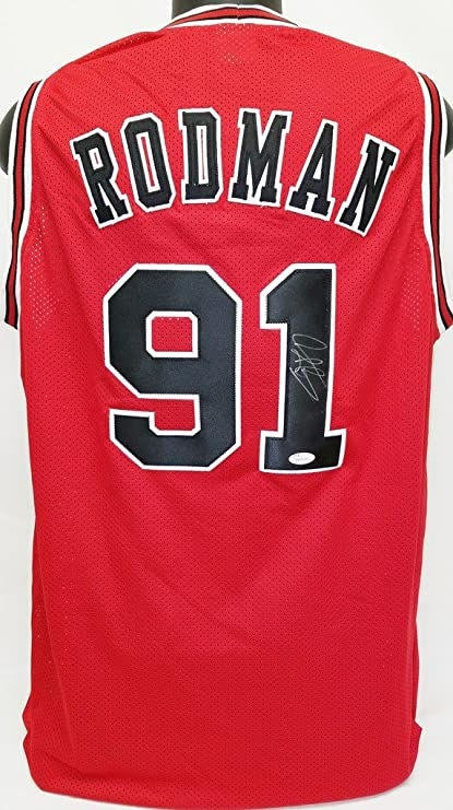 Dennis Rodman Bulls Signed Red Jersey JSA Witness Authentic Autograph 073becd39
