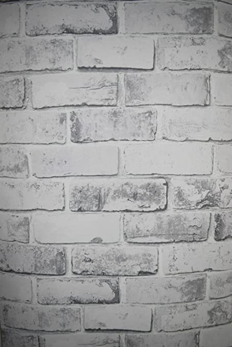 Debona Brick White Wallpaper 6751 Metallic Faux Stone Brick Wall Photographic