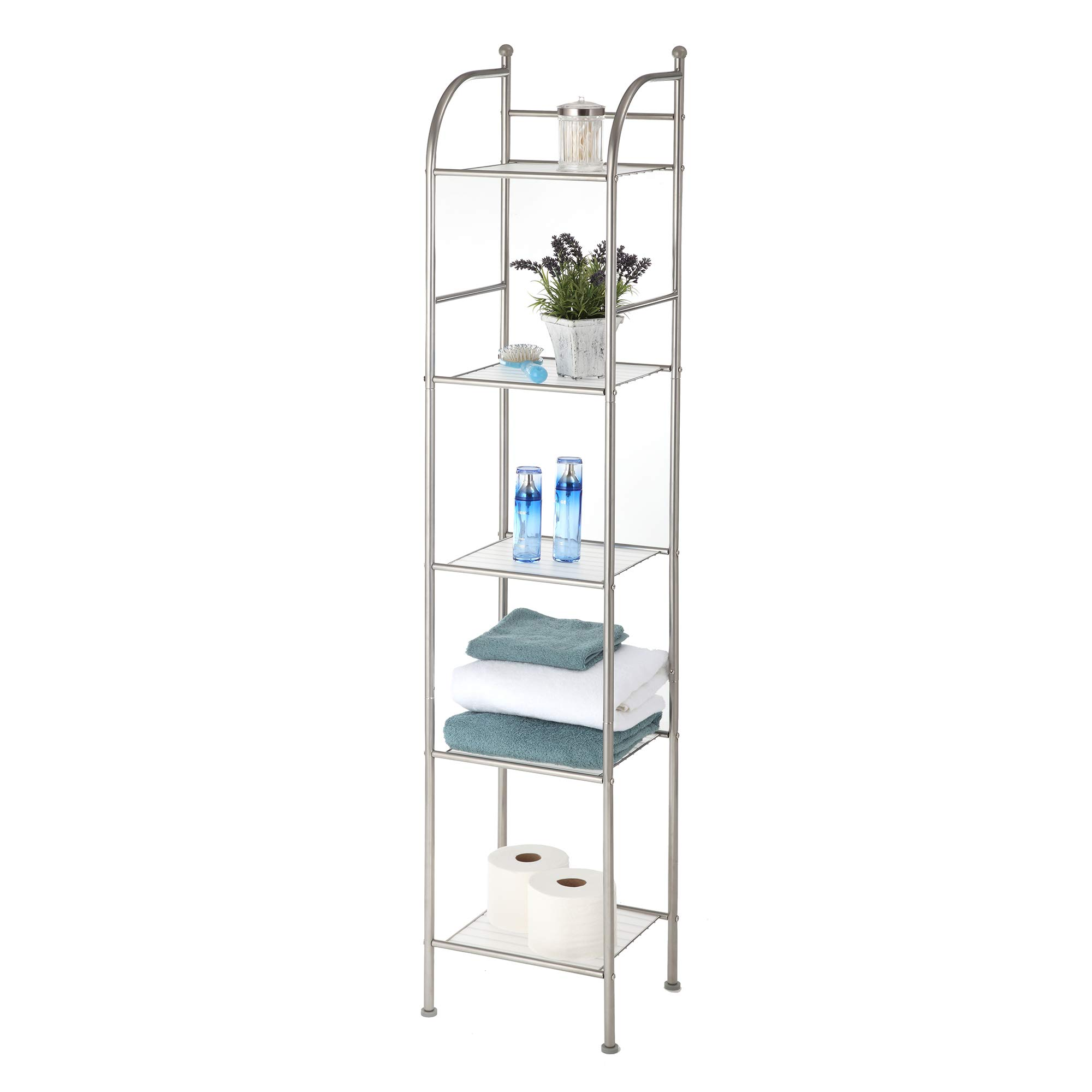 Home Zone 5-Tier Modern Style Shelving Bathroom Space Saver, Satin Nickel Finish, Shelf Liner Included