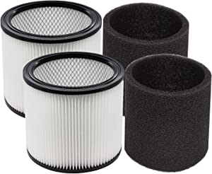 YUEFENG 90304 Filter and 90585 Foam Sleeve for Shop-Vac 5 Gallon and Up Wet/Dry Vacuum, Compare to Part # 90304, 90585 (2+2)