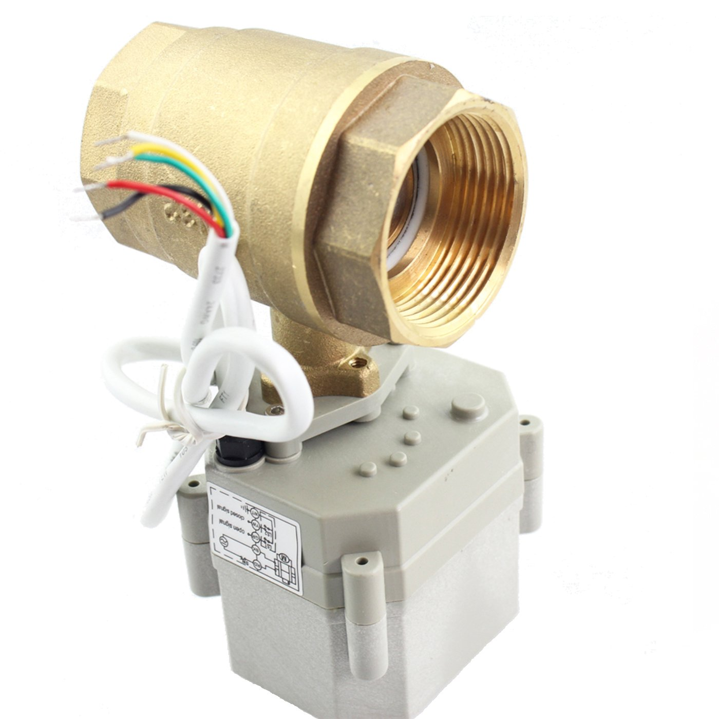 HSH-Flo Motorized Ball Valve 1 AC110V//220V Brass Normally Closed 2 Way CR5-02 Five Wires Electric Ball Valve