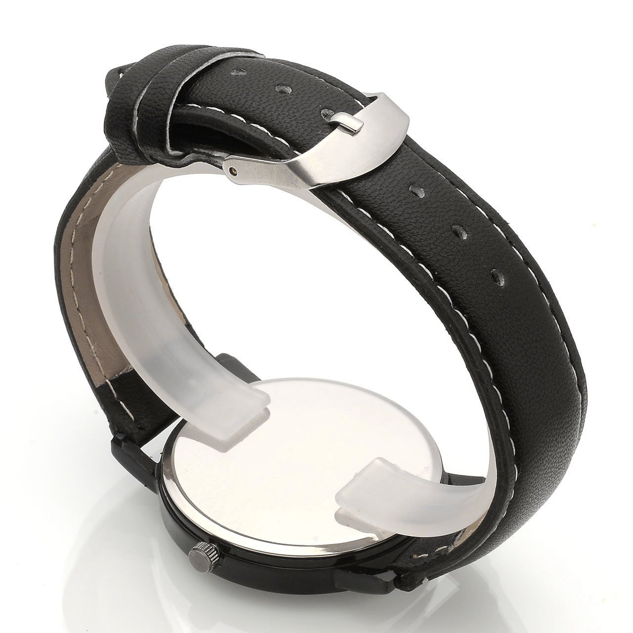 Top Plaza Mens Womens Analog Quartz Wrist Watch Fashion Simple Watch with Black Leather Band Large Face