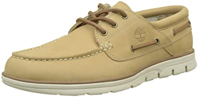 Mens Bradstreet 3 Eyecroissant Nubuck Boat Shoes, Beige Timberland