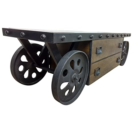 Mueble de TV con Ruedas Aparador Madera Maciza Industrial diseño Loft Muebles – Cómoda