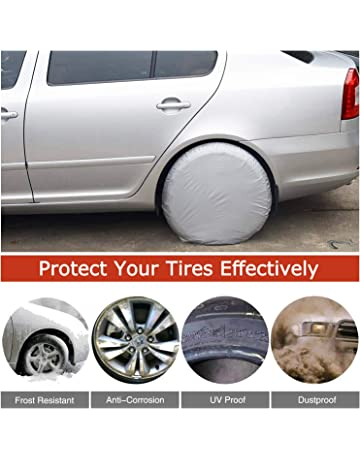 Baabyoo Car Tire Covers Set Of 4 Sun Protectors Waterproof Aluminum Film Fits 27