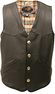 product image for Men's Western Style Black American Bison Leather Vest.