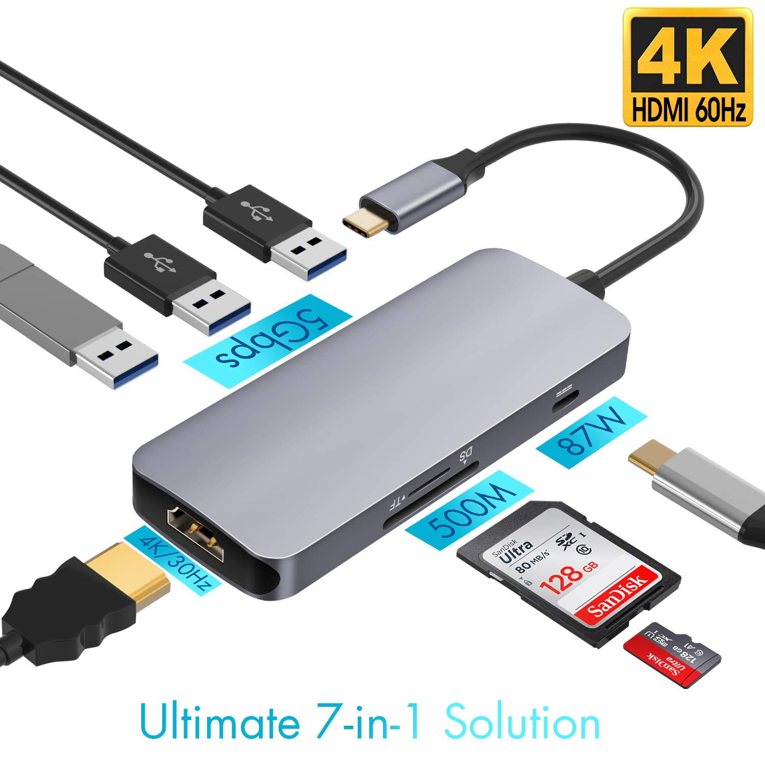 USB C Hub 7 in 1 Aluminum with HDMI 4K Adapter 3 USB 3.0 Ports SD/TF Card Reader (Grey)