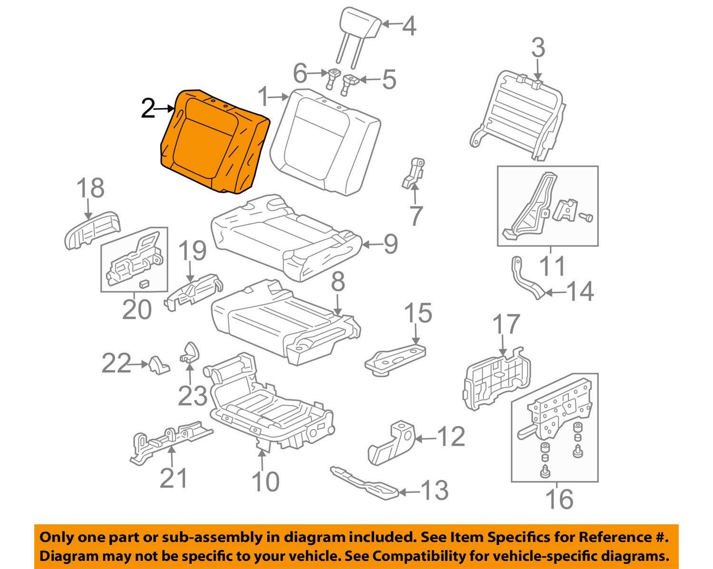 Right Honda Genuine 82121-SCV-L02ZD Seat Back Trim Cover Rear
