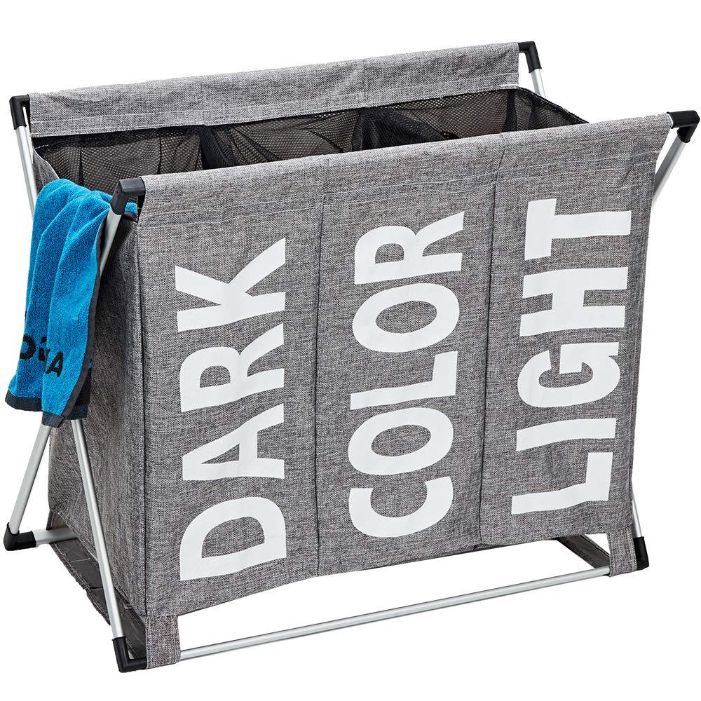 HOMEST Large 3 Section Laundry Hamper Bag Folding Aluminium X-Frame 25.5''L×23''H Detachable Dirty Clothes Sorter Basket College Apartment Home Use, Grey