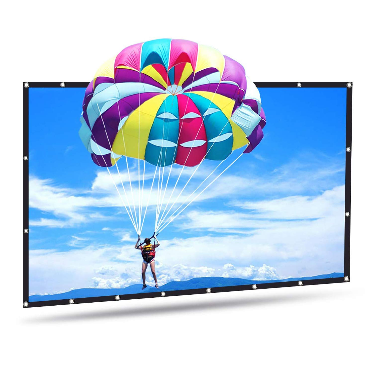100 inch HD Portable PVC Projector Screen with Hanging Hole, Joyhero 100