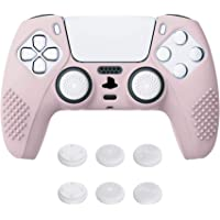 eXtremeRate PlayVital Sakura Pink 3D Studded Edition Anti-Slip Silicone Cover Skin for Playstation 5 Controller, Soft…