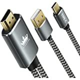 Type C to HDMI, KINGONE 2-in-1 6ft Braided 4K@30HZ USB C to HDMI & High-speed Charge Cable (Thunderbolt 3 Compatible) for 2017/2016 MacBook Pro, iMac, Galaxy Note 8/S8, HuaWei Mate 10 and more