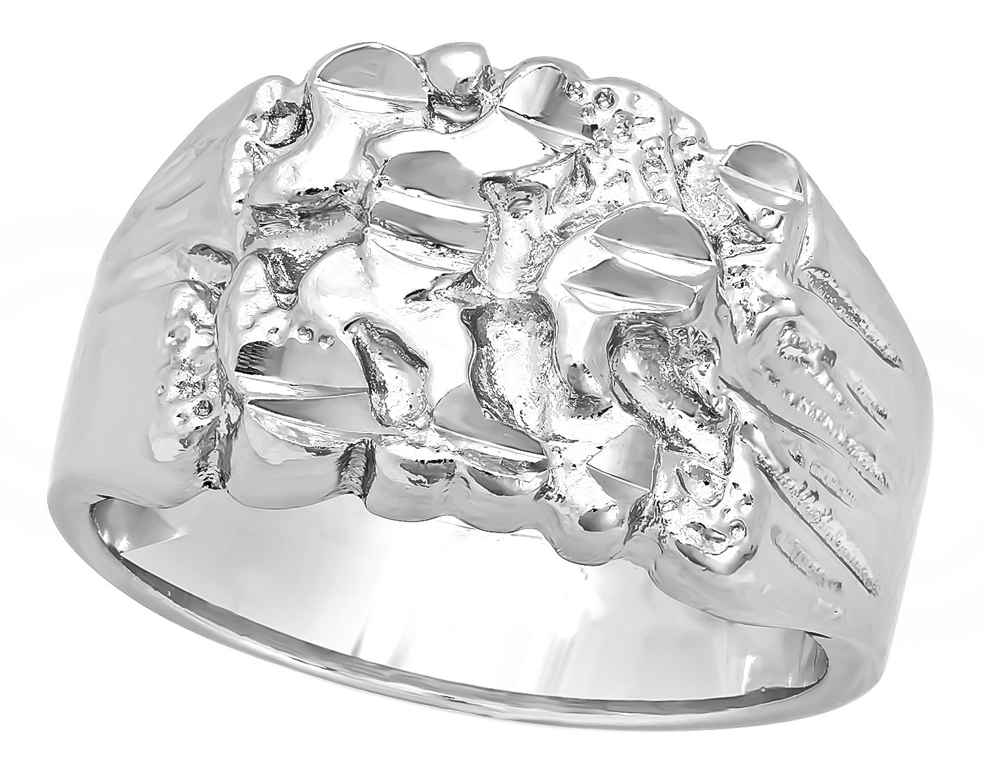 Boy's 19mm Large Rhodium Plated Chunky Nugget Pinky Ring Size 7-16 + Jewelry Cleaning Cloth