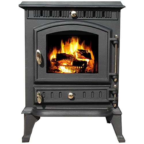 FoxHunter Sharnwick 7KW Cast Iron Log Burner | Traditional Wood Burner Multifuel Stove Heater | FREE Heat Proof Oven Mit | Bronze Handles Indoor Home Heating Log Cabin Fireplace - JA010