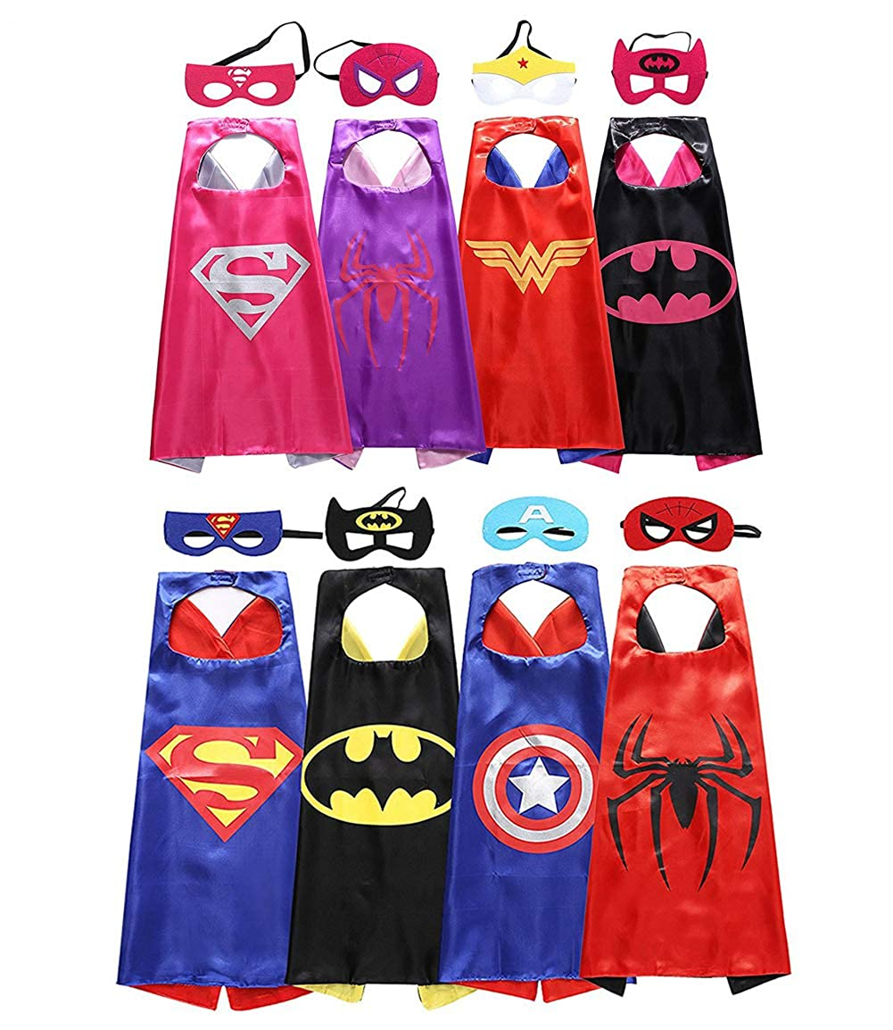 Kids Capes and Masks 8 Set Dress Up Halloween Costumes for Kids FIGDMI