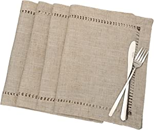 Grelucgo Handmade Hemstitched Table Placemats, Rectangle 12x18 Inch Set of 4, Natural Color