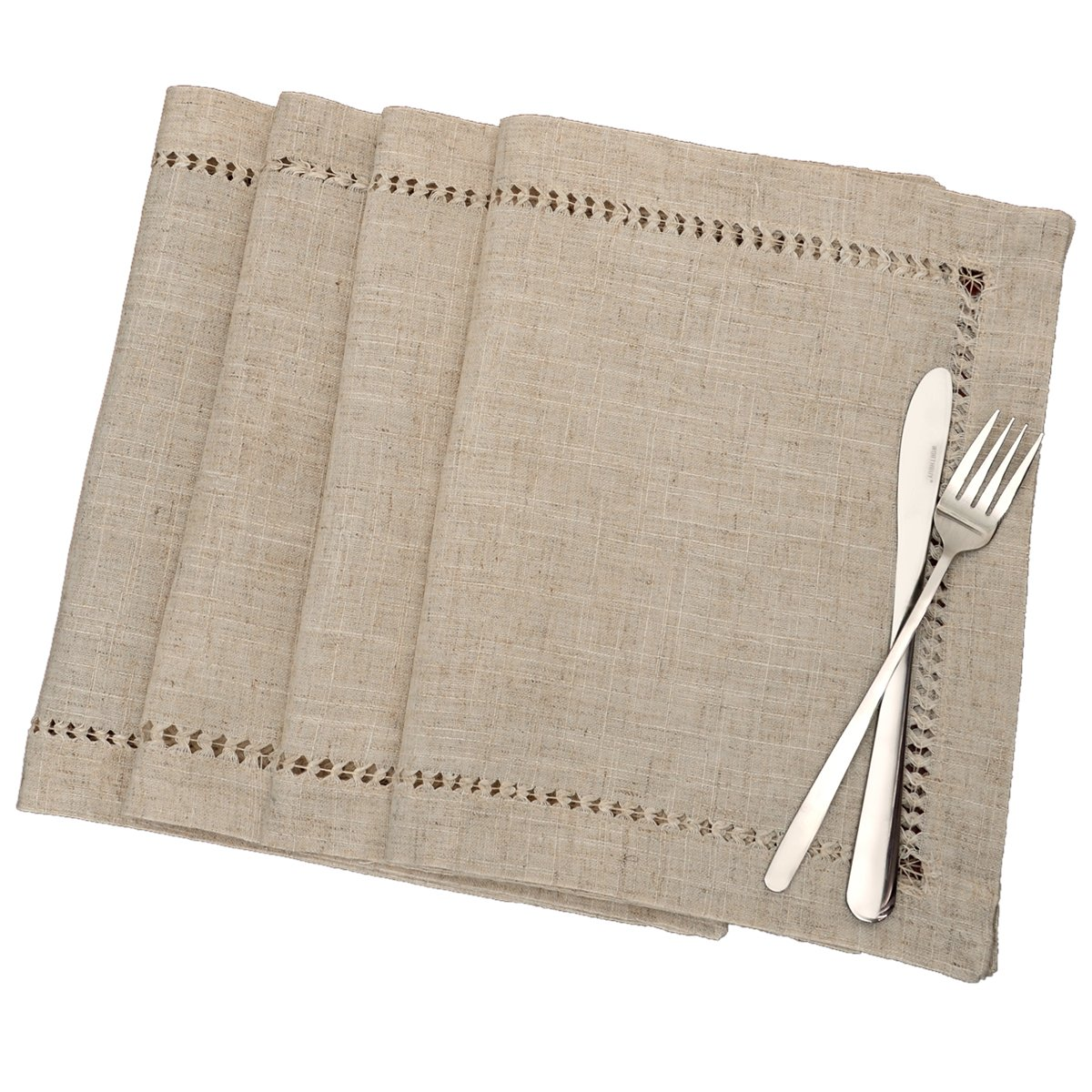 Hemstitched Napkins,Square 12*12 Inch Set Of 4, Natural Color Baishuo