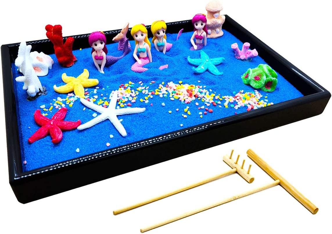 Combination of Life Zen Garden Decor,Mini Ocean Sea Life at Your Desktop, Perfect Relaxation and Meditation Gift, Beach Play Sand Box Toy for Kids, Boys and Girls