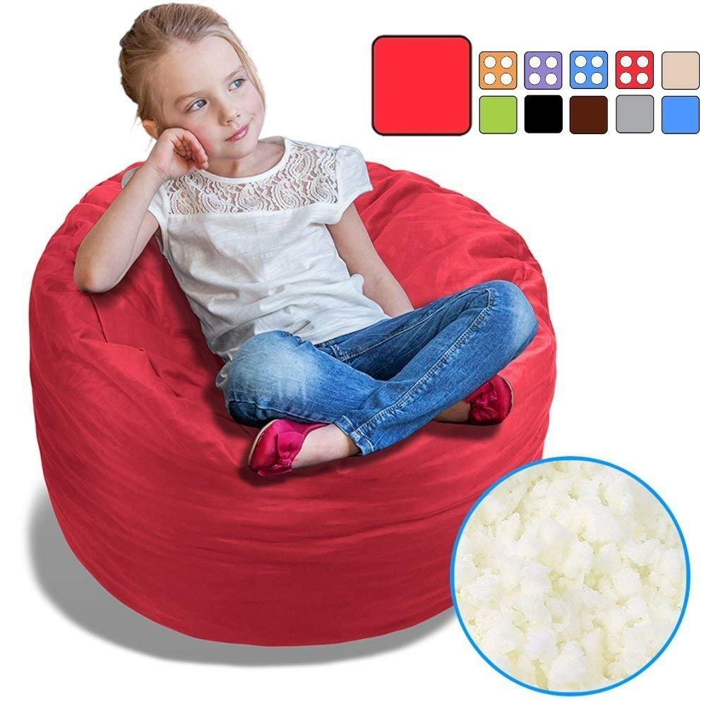 BeanBob Bean Bag Chair (Flaming Red), 2.5ft - Bedroom Sitting Sack for Kids w/Super Soft Foam Filling